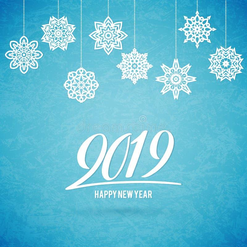 Tarjeta de la Feliz Navidad y de la Feliz Año Nuevo 2019 con los copos de nieve stock de ilustración
