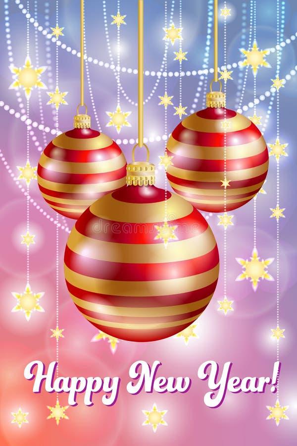 Tarjeta de la Feliz Navidad y de la Feliz Año Nuevo Decoración de la Navidad ilustración del vector
