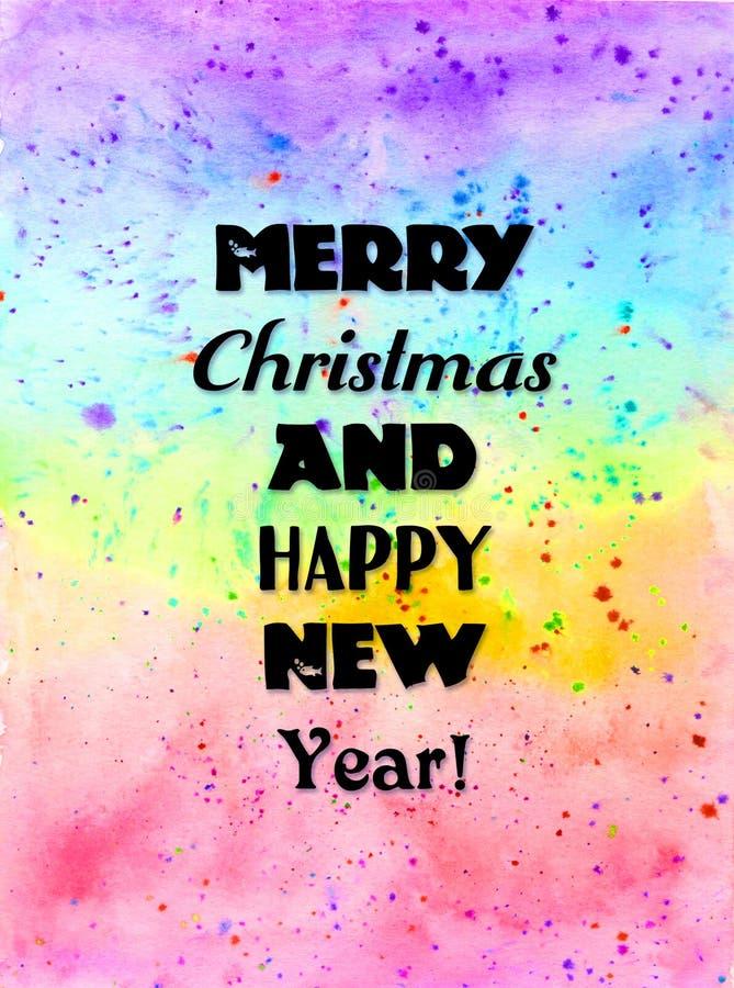 Tarjeta de la Feliz Navidad y de la Feliz Año Nuevo Diseño brillante creativo del invierno Fondo pintado a mano vibrante de la ac imagen de archivo