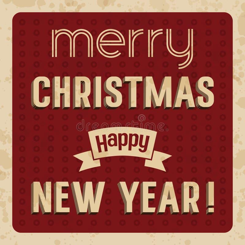 Tarjeta de la Feliz Navidad y de la Feliz Año Nuevo ilustración del vector