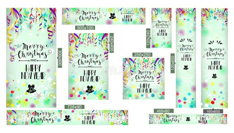 Tarjeta de la Feliz Navidad y de la Feliz Año Nuevo stock de ilustración