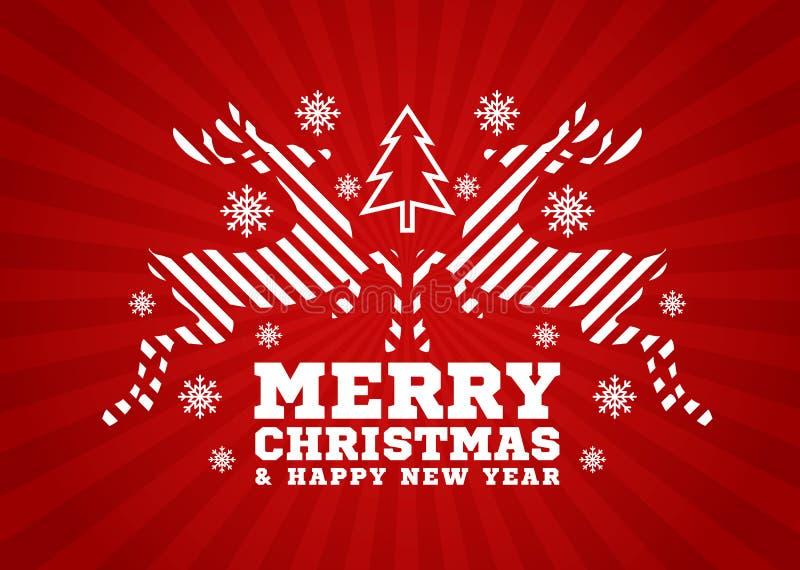 Tarjeta de la Feliz Navidad y de la Feliz Año Nuevo - el reno salta la raya y árbol de navidad y nieve en diseño rojo del vector  libre illustration