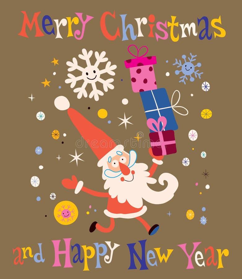 Tarjeta de la Feliz Navidad y de Santa Claus Greeting de la Feliz Año Nuevo ilustración del vector