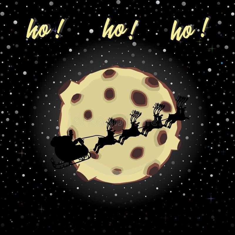 TARJETA DE LA FELIZ NAVIDAD Y DEL AÑO NUEVO Silueta del trineo del slaus de Papá Noel en fondo de la nieve de la Luna Llena stock de ilustración