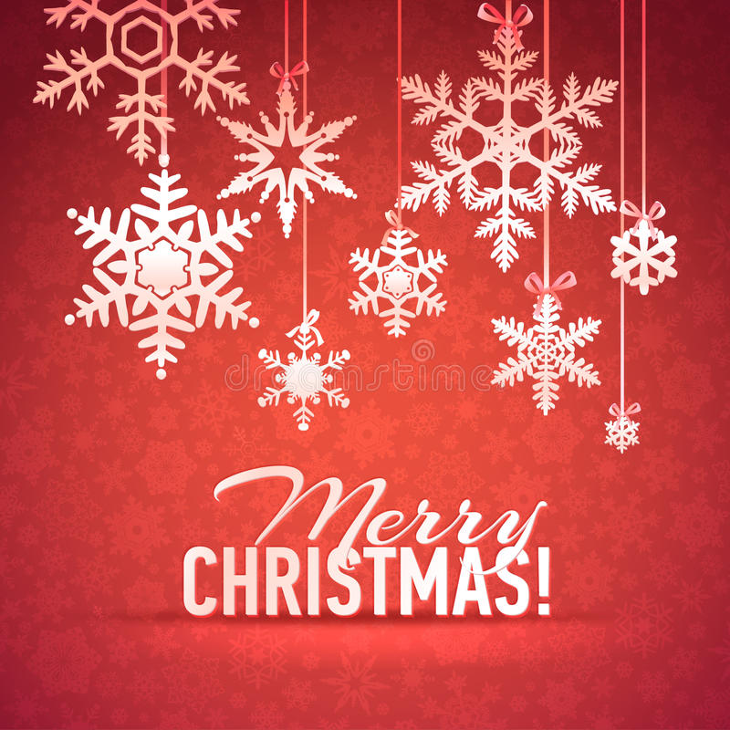 Tarjeta de la Feliz Navidad y del copo de nieve de la Feliz Año Nuevo stock de ilustración