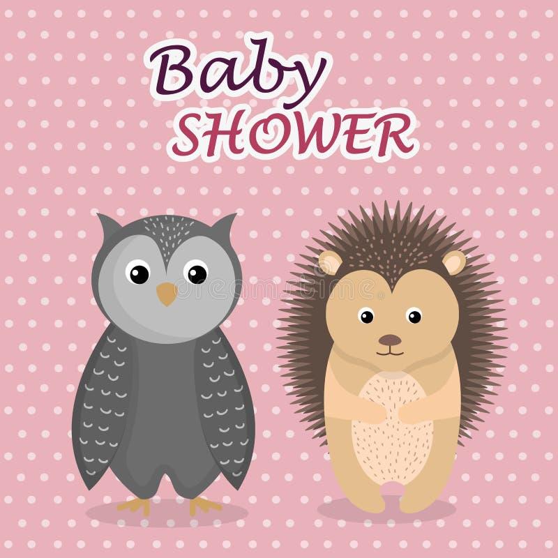 Tarjeta de la fiesta de bienvenida al bebé con el búho y el puerco espín lindos ilustración del vector