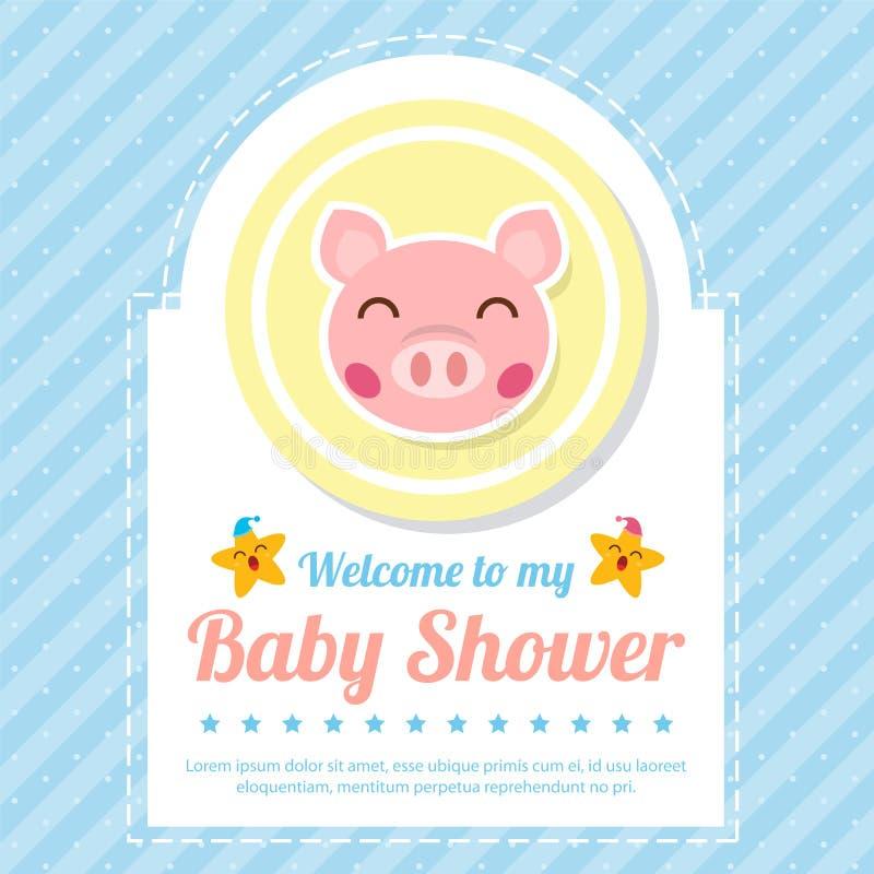 Tarjeta de la fiesta de bienvenida al bebé con el cerdo lindo libre illustration