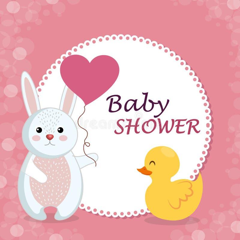 Tarjeta de la fiesta de bienvenida al bebé con el conejo y el pato lindos ilustración del vector