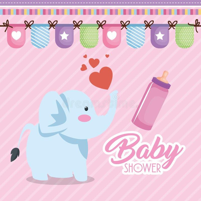 Tarjeta de la fiesta de bienvenida al bebé con el elefante lindo libre illustration