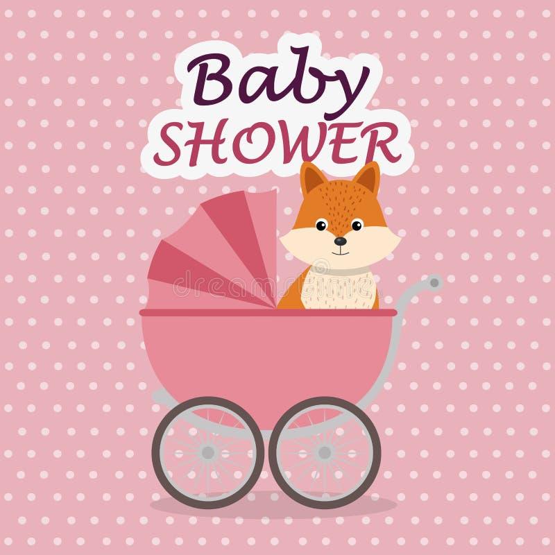Tarjeta de la fiesta de bienvenida al bebé con el zorro lindo en carro ilustración del vector