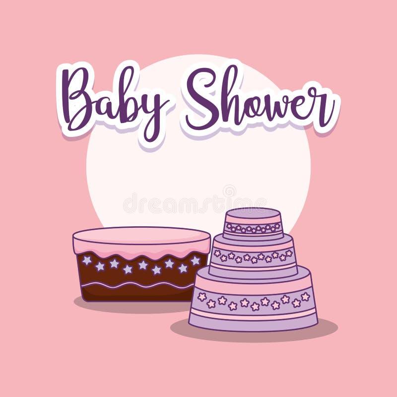 Tarjeta de la fiesta de bienvenida al bebé con las tortas libre illustration