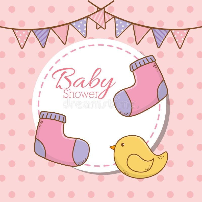 Tarjeta de la fiesta de bienvenida al bebé con los calcetines y el pato libre illustration