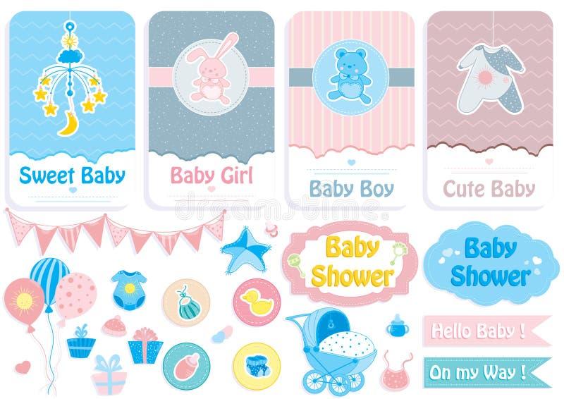 Tarjeta de la fiesta de bienvenida al bebé, bandera y sistema de la etiqueta engomada imagen de archivo libre de regalías