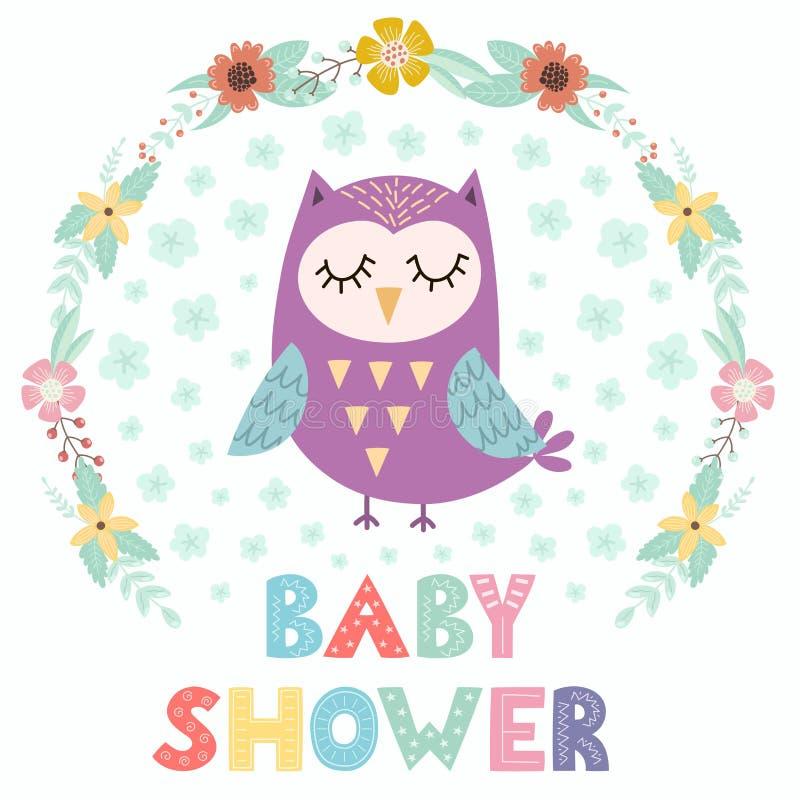 Tarjeta de la fiesta de bienvenida al bebé con un búho lindo stock de ilustración