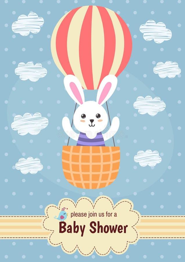 Tarjeta de la fiesta de bienvenida al bebé con un vuelo lindo del conejo en el globo libre illustration