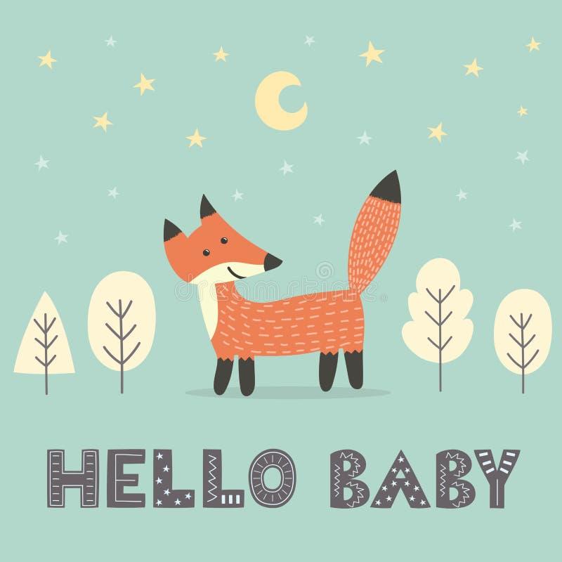 Tarjeta de la fiesta de bienvenida al bebé con un zorro lindo ilustración del vector