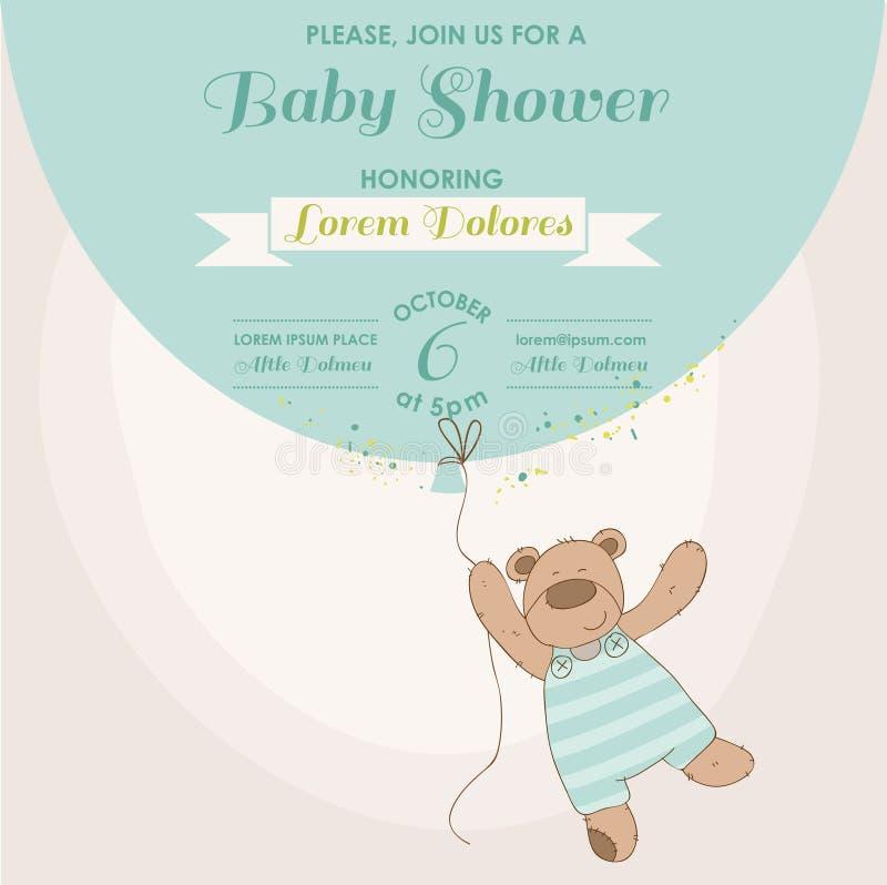 Tarjeta de la fiesta de bienvenida al bebé - conejito del bebé ilustración del vector