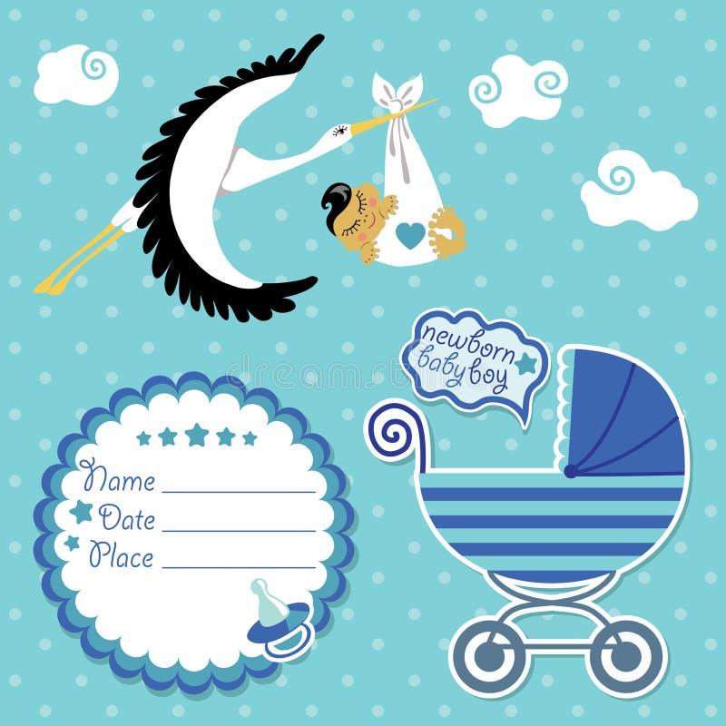 Tarjeta de la fiesta de bienvenida al bebé, invitación, libro de recuerdos con la cigüeña y muchacho asiático stock de ilustración