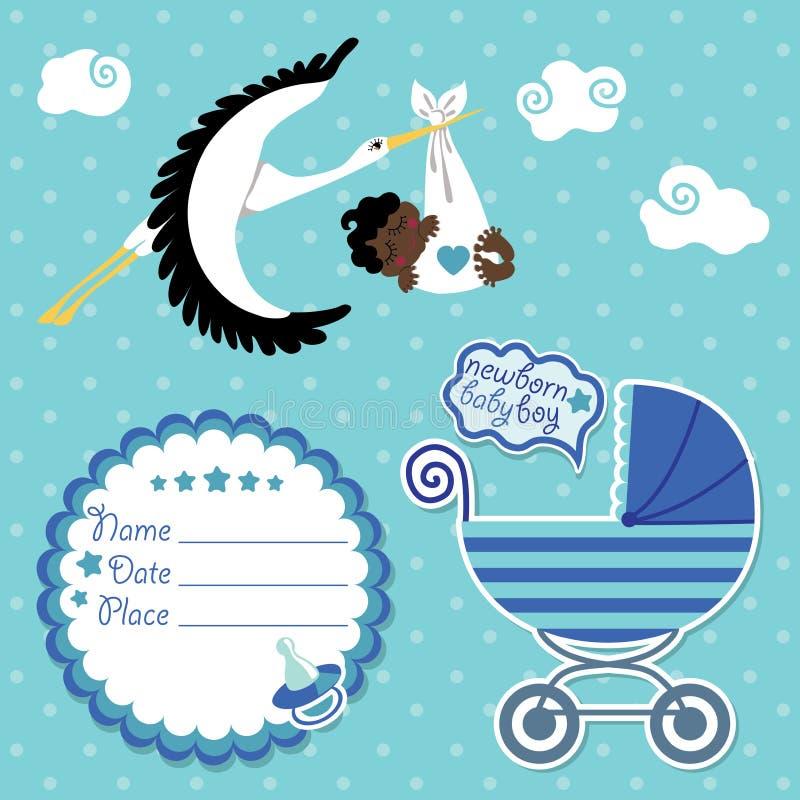 Tarjeta de la fiesta de bienvenida al bebé, invitación, libro de recuerdos con la cigüeña y muchacho del mulato ilustración del vector