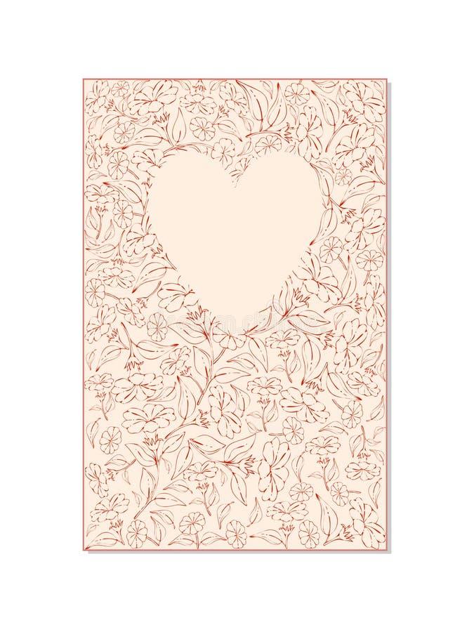 Tarjeta de la flor con una imagen del corazón en un fondo blanco libre illustration