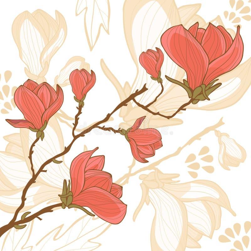 Tarjeta de la flor de la magnolia libre illustration