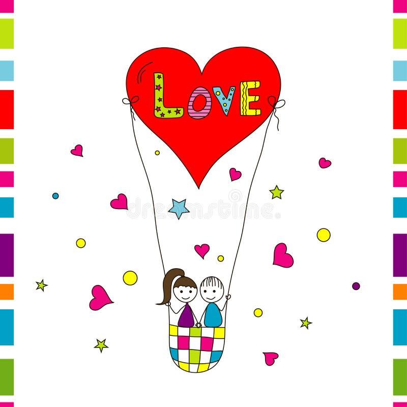 Tarjeta de la historia de amor, vector ilustración del vector