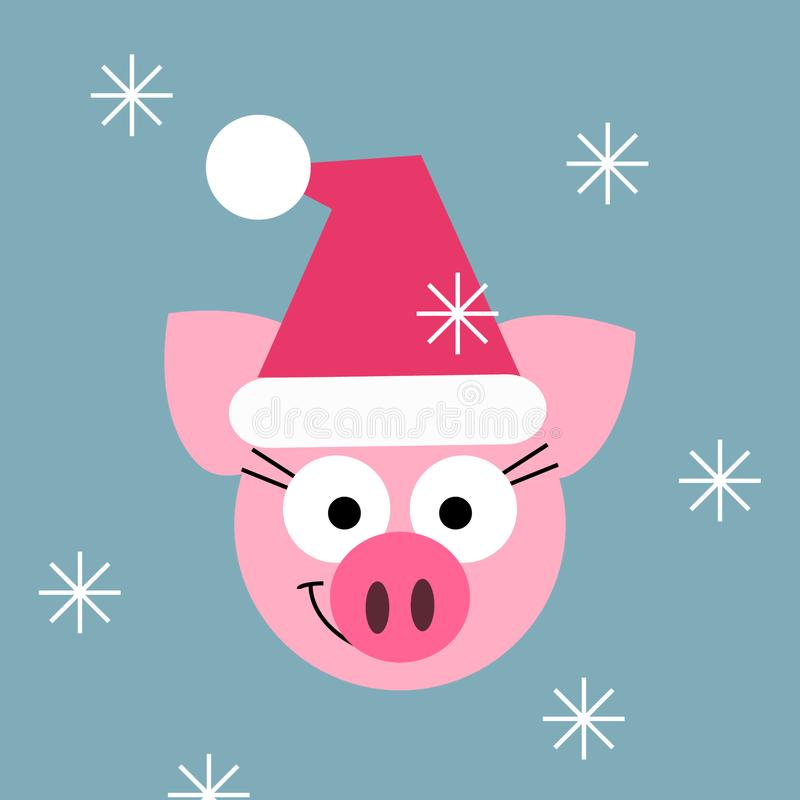 Tarjeta de la historieta de la Navidad con el cerdo lindo en el sombrero y los copos de nieve de Papá Noel en el fondo azul Image stock de ilustración
