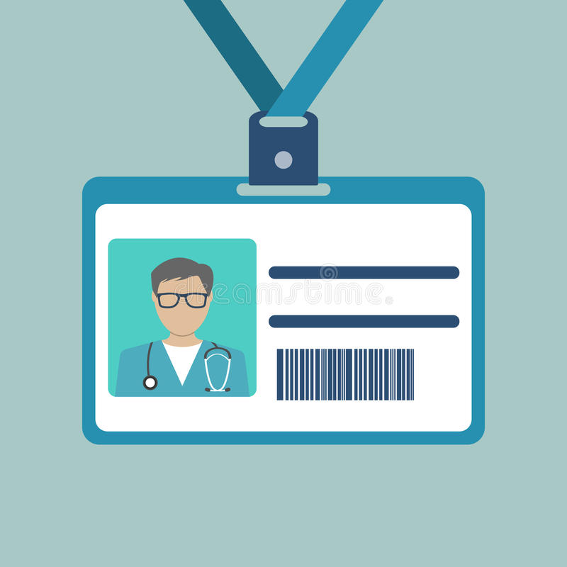 Tarjeta de la identificación del doctor stock de ilustración