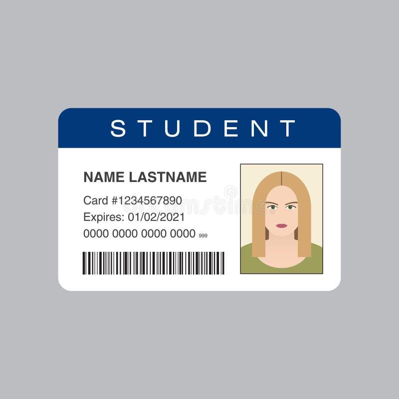 Tarjeta de la identificación del estudiante stock de ilustración