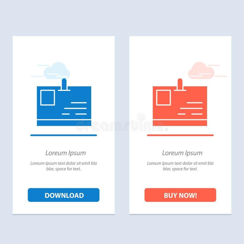 Tarjeta, tarjeta de la identificación, identidad, azul del paso y transferencia directa roja y ahora comprar la plantilla de la t libre illustration