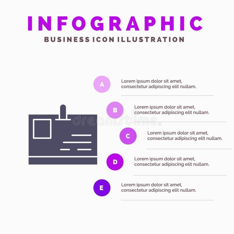 Tarjeta, tarjeta de la identificación, identidad, fondo sólido de la presentación de los pasos de Infographics 5 del icono del pa ilustración del vector