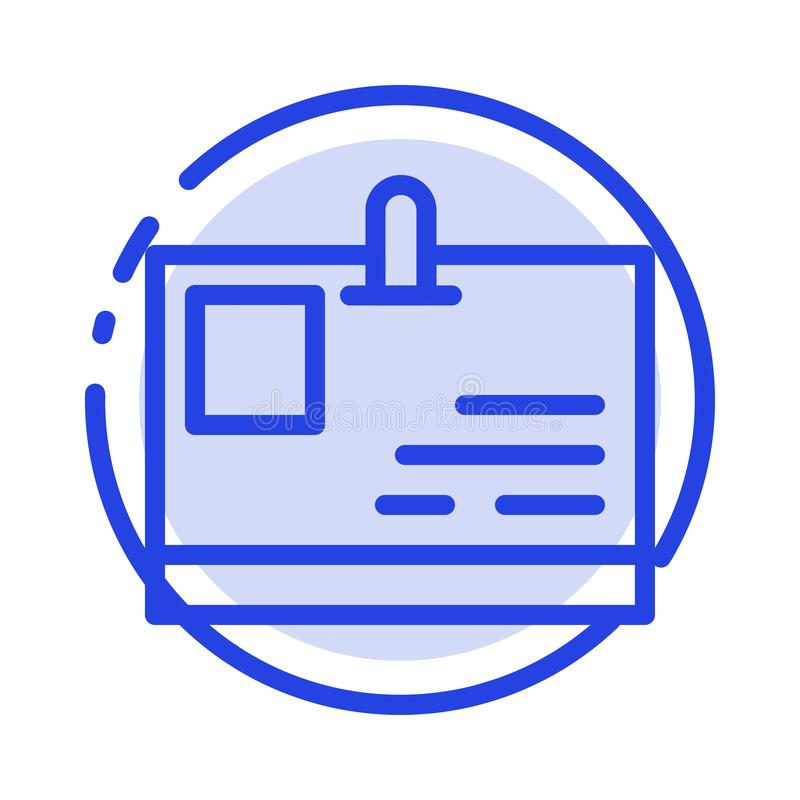 Tarjeta, tarjeta de la identificación, identidad, línea de puntos azul línea icono del paso ilustración del vector