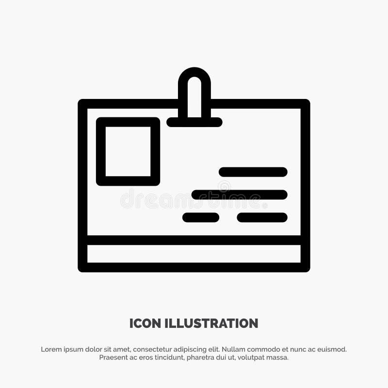 Tarjeta, tarjeta de la identificación, identidad, línea vector del paso del icono libre illustration