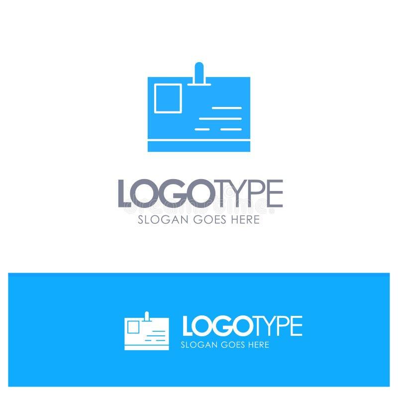 Tarjeta, tarjeta de la identificación, identidad, logotipo sólido azul del paso con el lugar para el tagline libre illustration