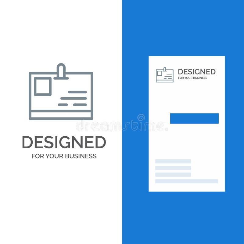 Tarjeta, tarjeta de la identificación, identidad, paso Grey Logo Design y plantilla de la tarjeta de visita stock de ilustración
