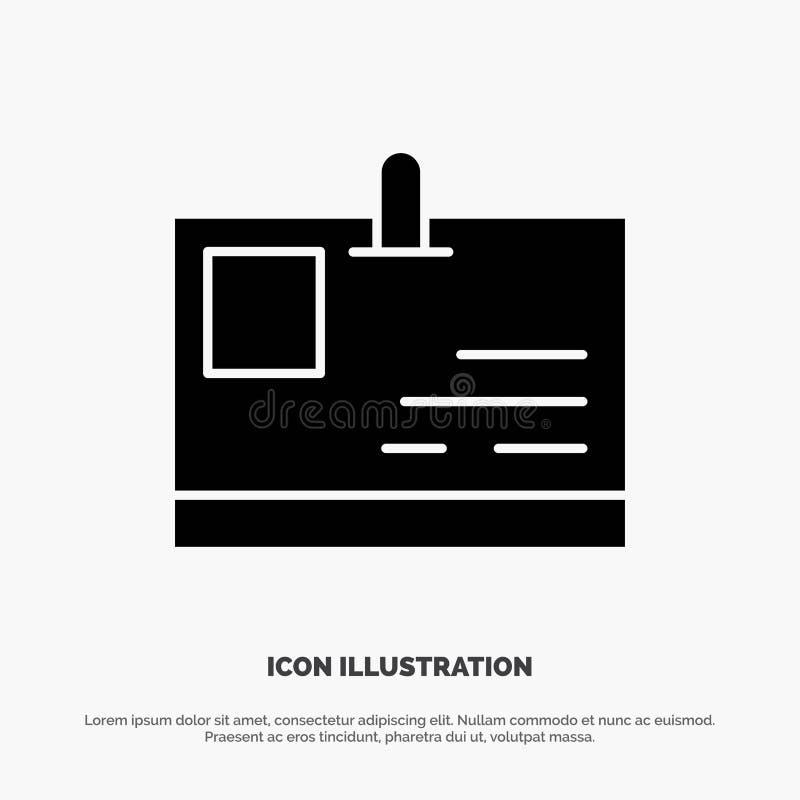 Tarjeta, tarjeta de la identificación, identidad, vector sólido del icono del Glyph del paso stock de ilustración