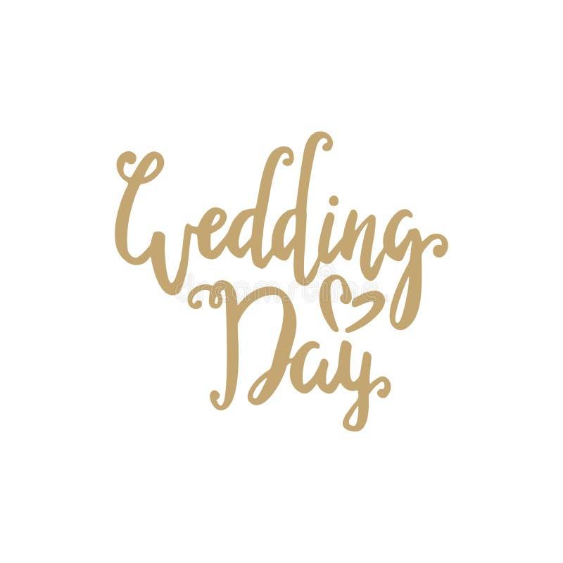 Tarjeta de la invitación de la boda con las letras de oro del cepillo Día de boda stock de ilustración