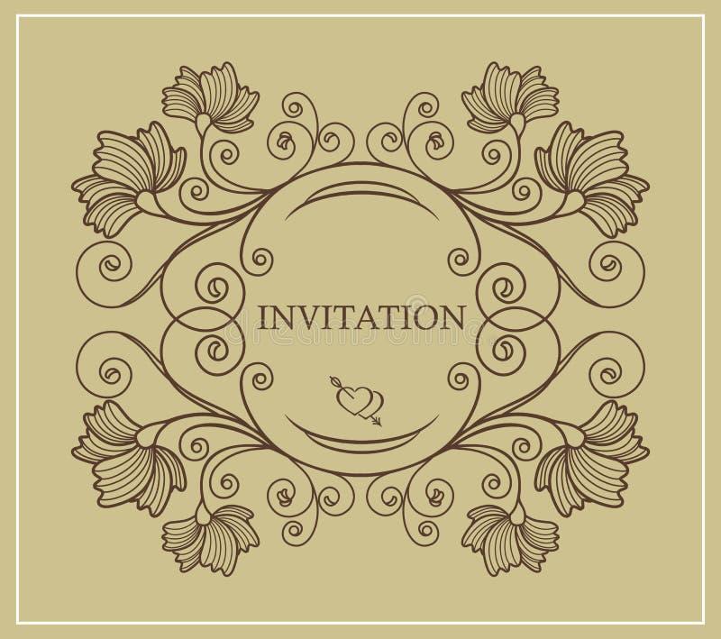 Tarjeta de la invitación de la boda con los elementos florales en un fondo del oro Estilo retro y del vintage ilustración del vector