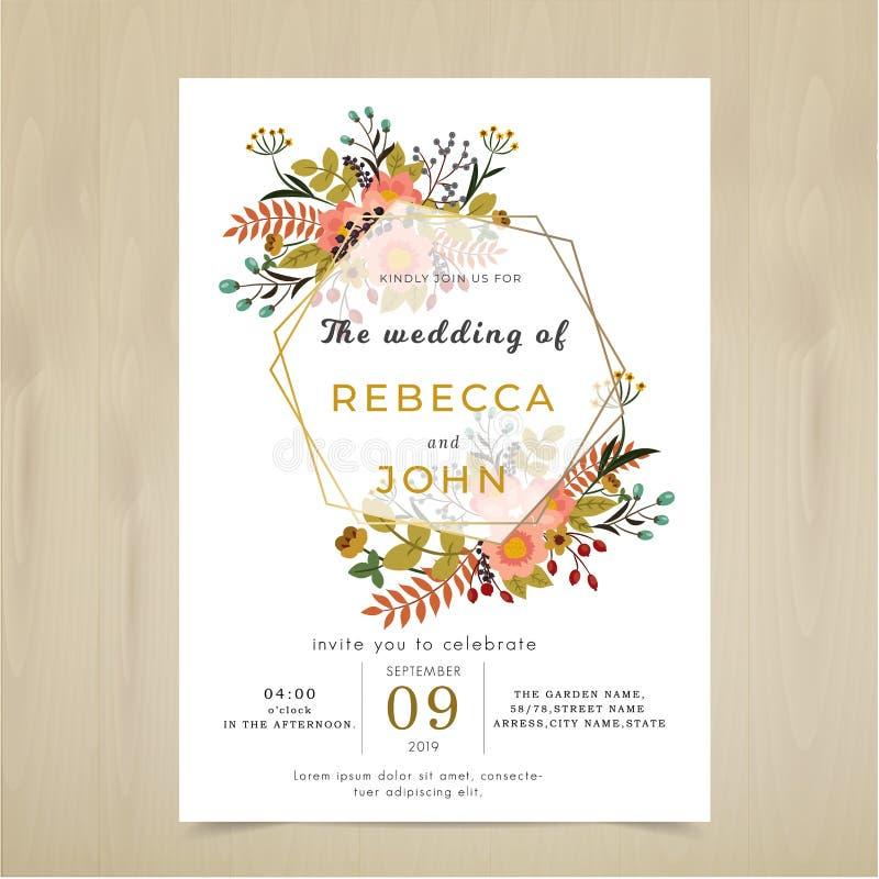 Tarjeta de la invitación de la boda del vector Sistema rústico del modelo de la flor de la flora ilustración del vector