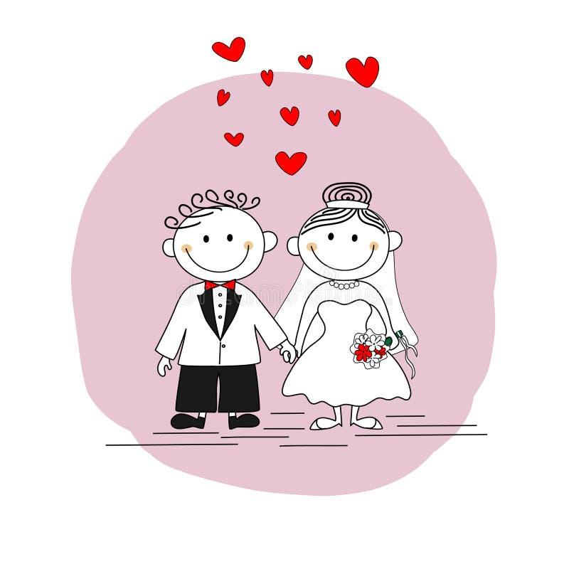 Tarjeta de la invitación de la boda - pareja de matrimonios linda stock de ilustración