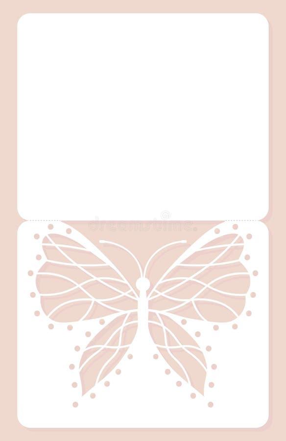 Tarjeta de la invitación, casandose la decoración, elemento del diseño Corte elegante del laser de la mariposa Ilustración del ve ilustración del vector