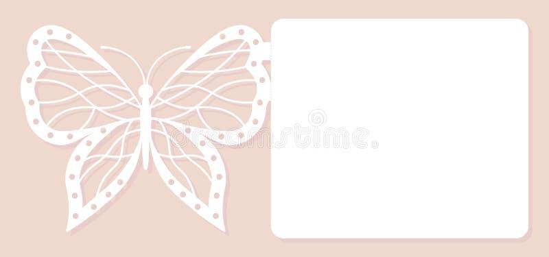 Tarjeta de la invitación, casandose la decoración, elemento del diseño Corte elegante del laser de la mariposa Ilustración del ve libre illustration