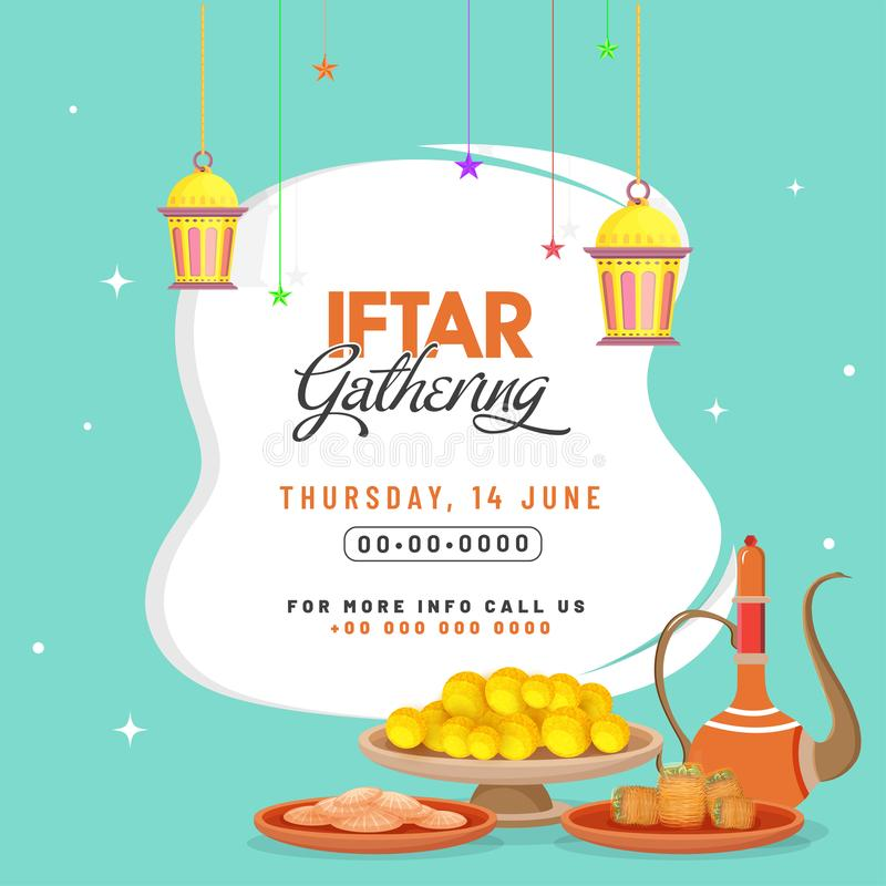 Tarjeta de la invitación de la celebración del partido de Iftar, cartel o diseño de la bandera libre illustration