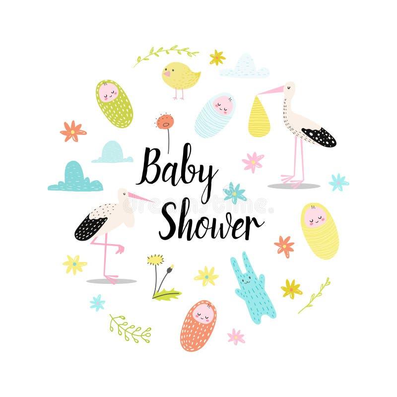 Tarjeta de la invitación de la celebración de la fiesta de bienvenida al bebé Fondo del feliz cumpleaños con el niño recién nacid stock de ilustración