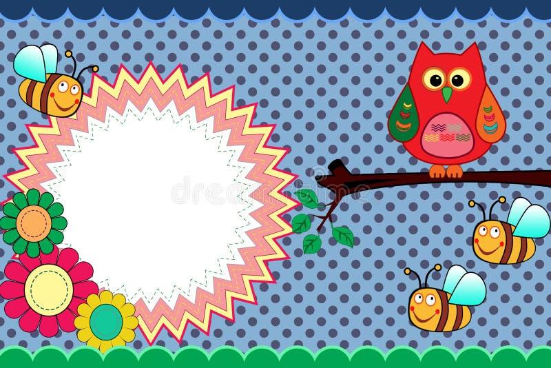 Tarjeta de la invitación con el búho y las abejas lindos ilustración del vector