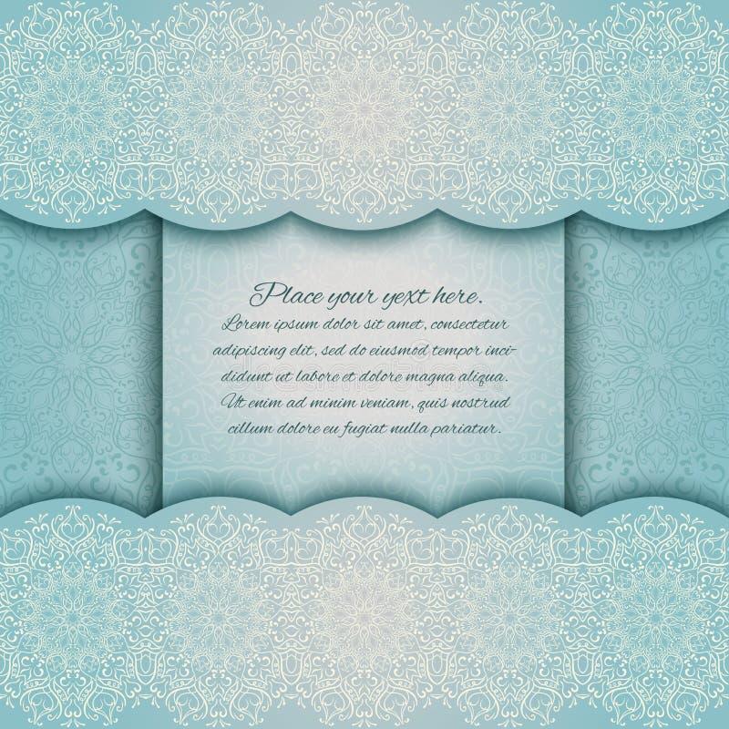 Tarjeta de la invitación con el cordón de la turquesa de la frontera de la mandala libre illustration