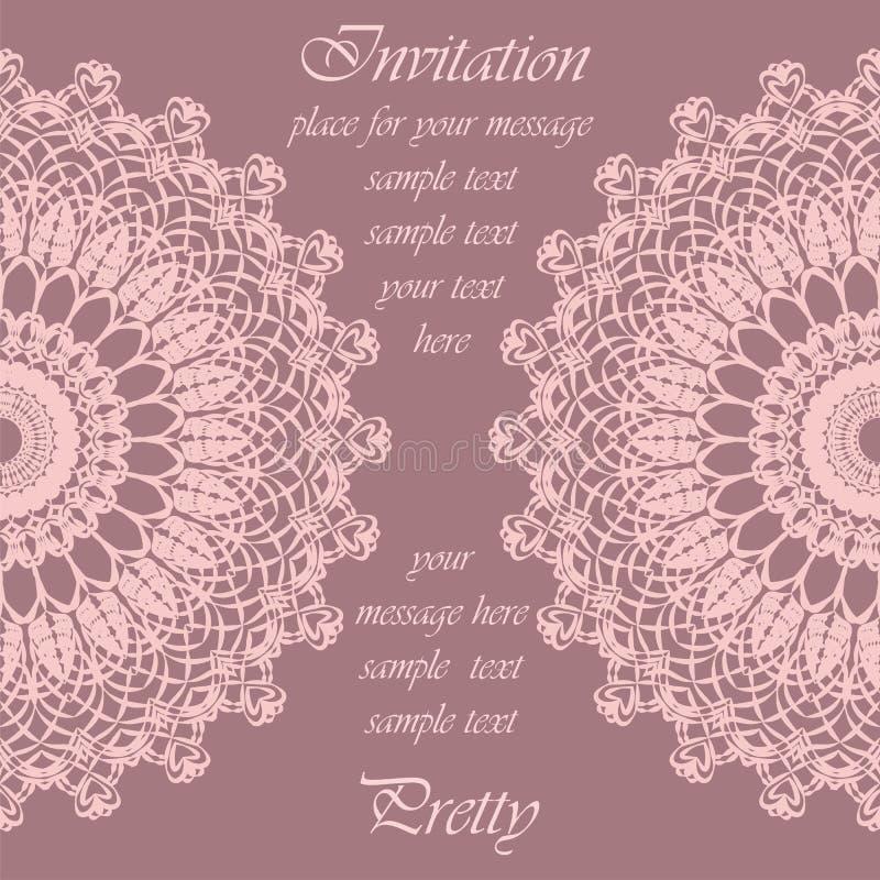 Tarjeta de la invitación con el ornamento redondo del cordón delicado del ganchillo libre illustration