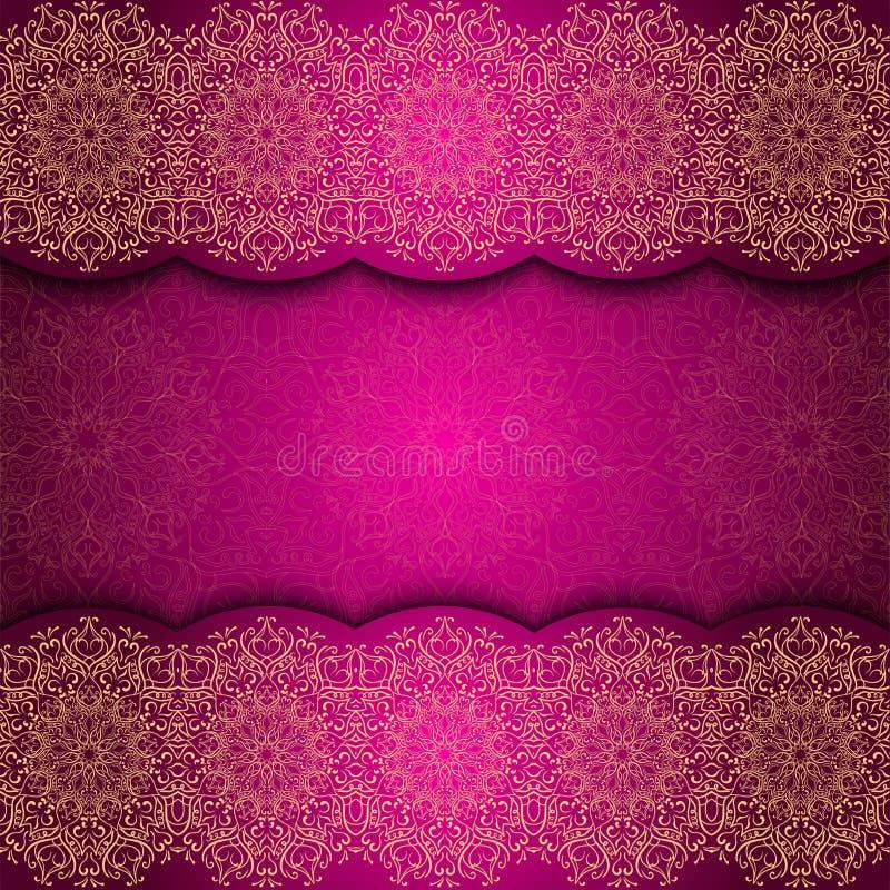 Tarjeta de la invitación con la frontera de la mandala Tarjeta roja del cordón glowing Oro Mandala Frame libre illustration