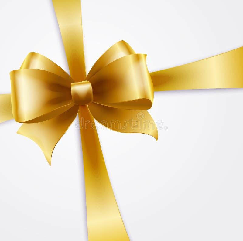 Tarjeta de la invitación con la cinta y el arco del día de fiesta del oro libre illustration