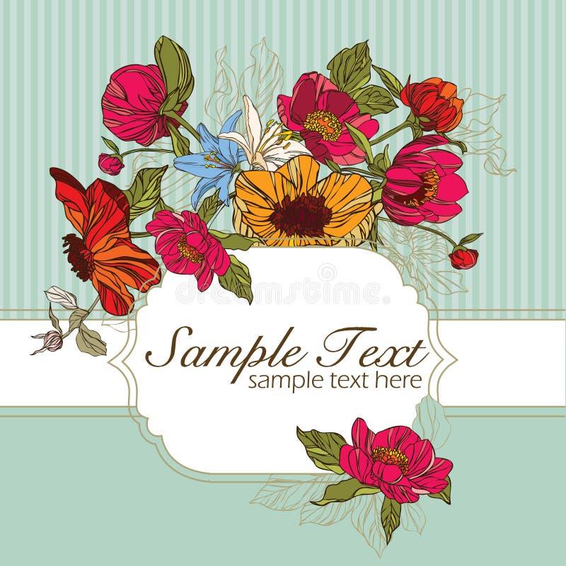 Tarjeta de la invitación con las flores stock de ilustración